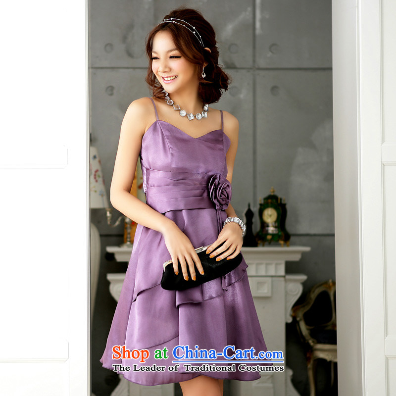 ?The magnificent sweet elegant niba Jk2.yy sexy dinner will lift straps dress dresses?XXXL Purple