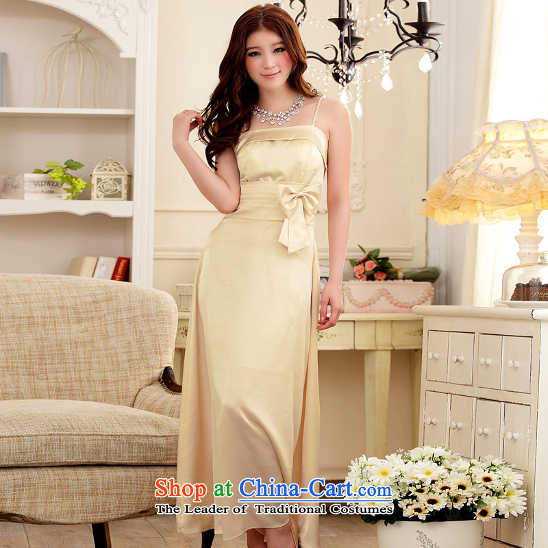 ?In addition, the magnificent dinner Jk2.yy Sau San emulation silk straps long gown champagne color?XXL