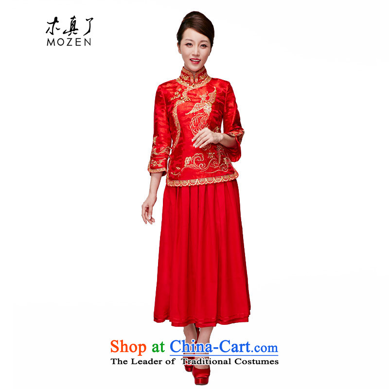 The 2015 Spring wood really new Chinese wedding dress bride bows services chiffon pleated skirts?11666 100 05 Red?XL