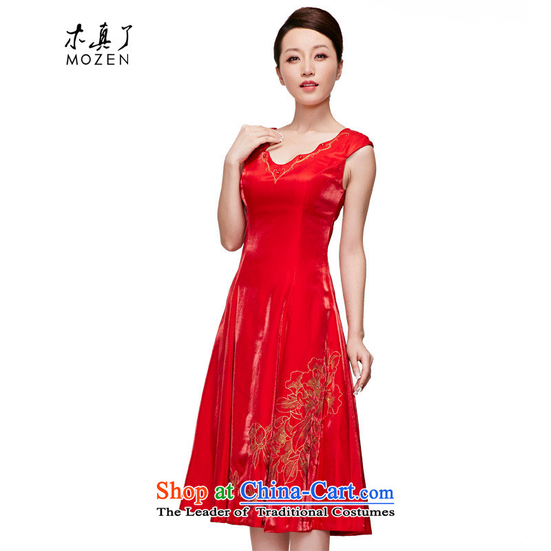 Wooden spring and summer of 2015 really Red Dress Chinese embroidery married bride cheongsam dress wedding services?70106 05 red bows?L