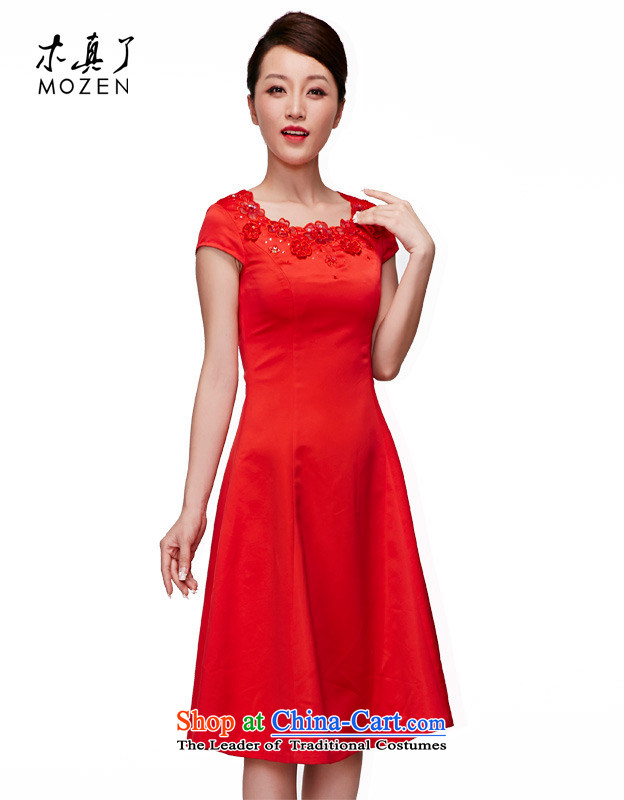 Wooden spring and summer of 2015 really new bride OF CHINESE CHEONGSAM wedding dress sweet temperament bride bows cheongsam dress?01026 04 red?S