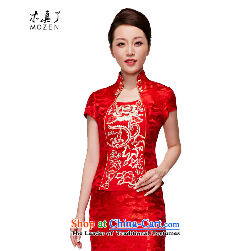 Wooden bride embroidery of 2015 really blouses red short of Sau San dress wedding dress?22082 05 red?XXXL