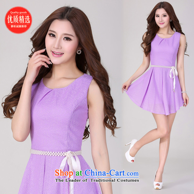 The electoral support c.o.d. health-care 2014 summer love embankment new Korean lace Sau San sleeveless shirt small elegant dress skirt A128 Purple clay ware to Pearl waist link incense upon first?S