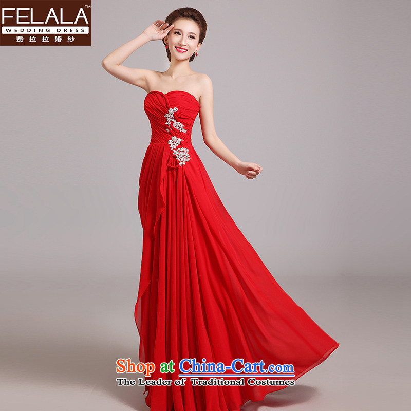 Ferrara?2015 new red lace a shoulder long bride toasting champagne dress uniform Korean Sau San Choon,?M