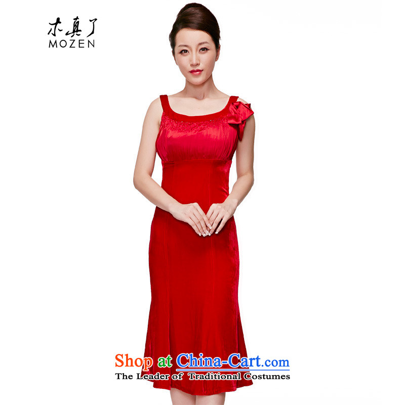 True 2015 : The new bride evening sweet velvet wedding dress in elegant qipao gown package mail�80521 05 red�S
