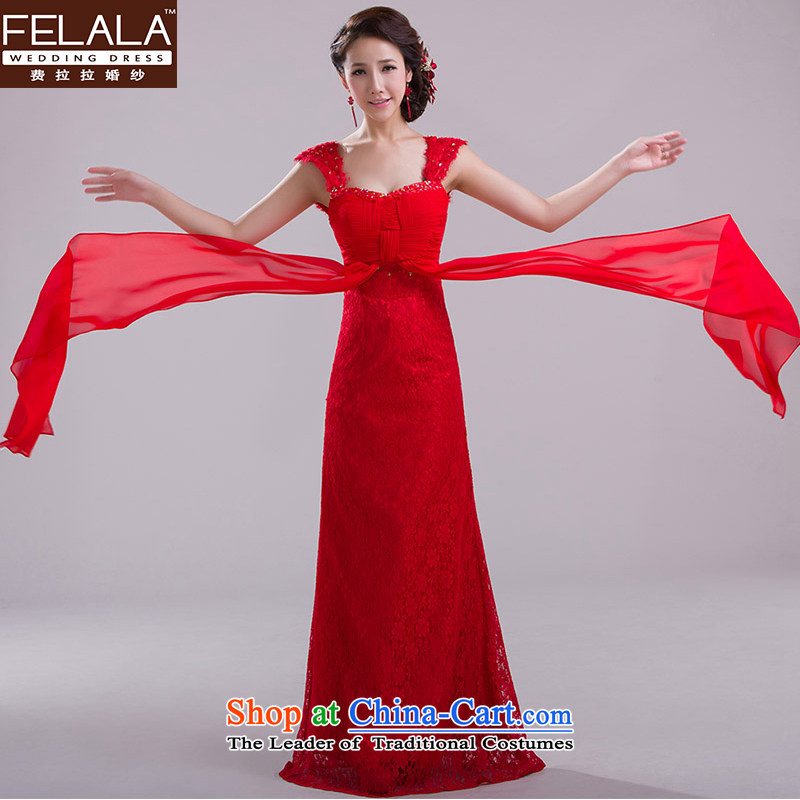 Ferrara?2015 new shoulders red bride bows service long lace wedding dress skirt spring_ evening?M?Suzhou Shipment