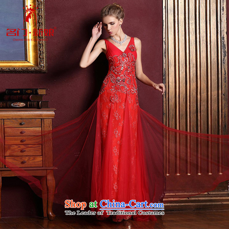 A bride wedding dresses new 2015 deep V-Neck Strap Red Dress marriage bows evening dresses 828 M