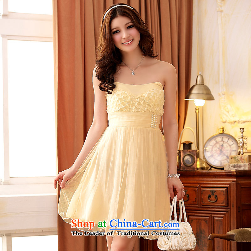 ?Ramada Plaza stylish continental Jk2.yy palace wind anointed Chest dinner will bridesmaid dress dresses champagne color?XL