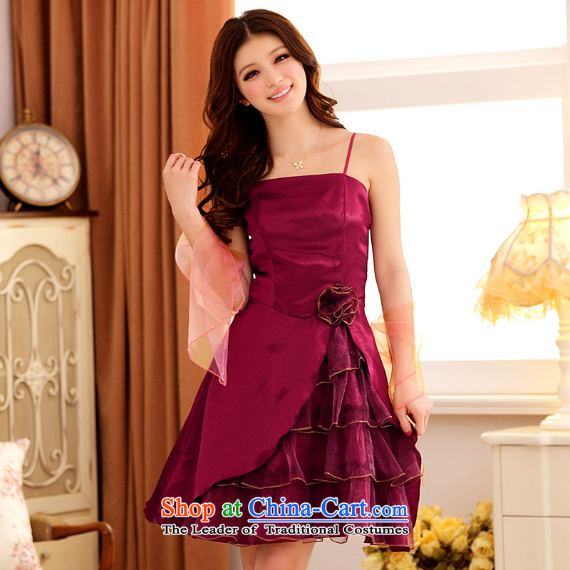 ?The Princess Royal feast Jk2.yy multi-tier niba before lifting strap dress dresses aubergine?XXL