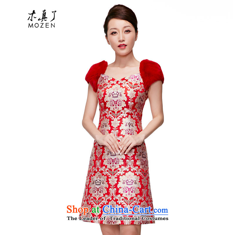 The MOZEN2015 wood really spring and summer New Silk rabbit hair bride Dress Short of evening package mail?22086 04 red?XL