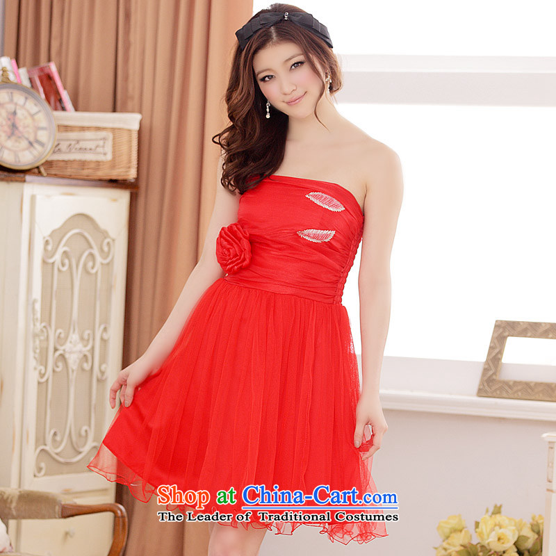 Jk2.yy?summer sweet Sin-large flower bud web wedding dresses dresses are Code Red
