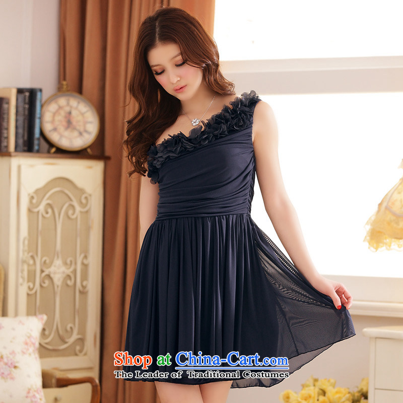 Jk2.yy summer ?ü?? shoulder stereo botanists Foutune of large dress dresses dark blue are code