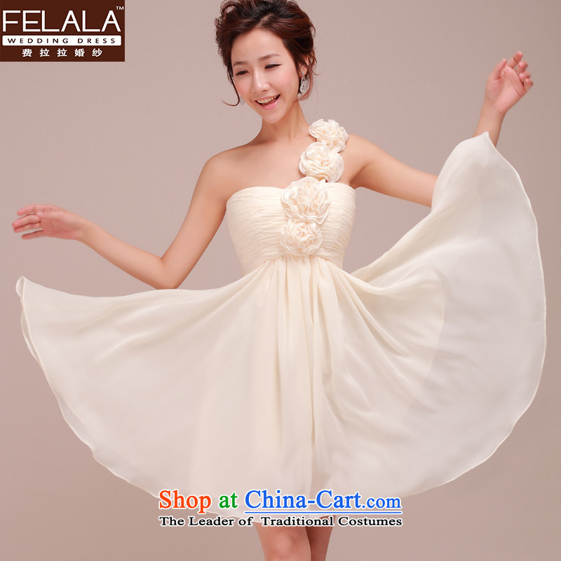 Ferrara bride shoulder straps wedding dresses flowers, small short skirts bridesmaid�2015 New banquet hosted champagne color�M�Suzhou Shipment