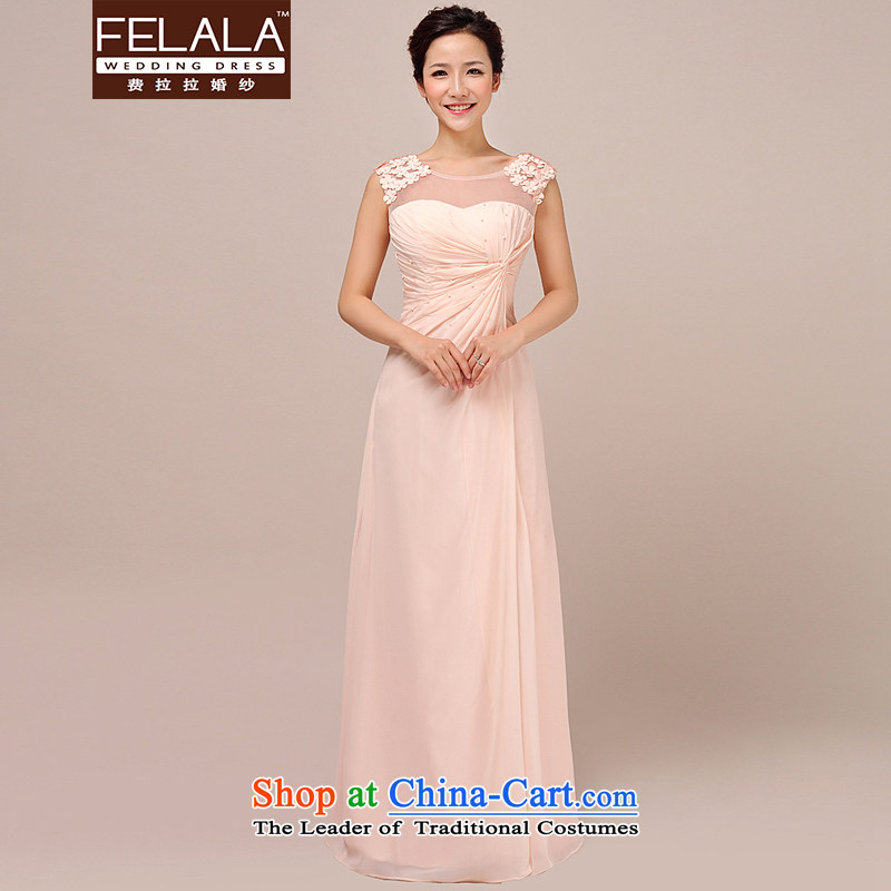 Ferrara spring dress Korean marriages bows services nude chiffon long high waist of the forklift truck dress skirt pink?XL?Suzhou Shipment