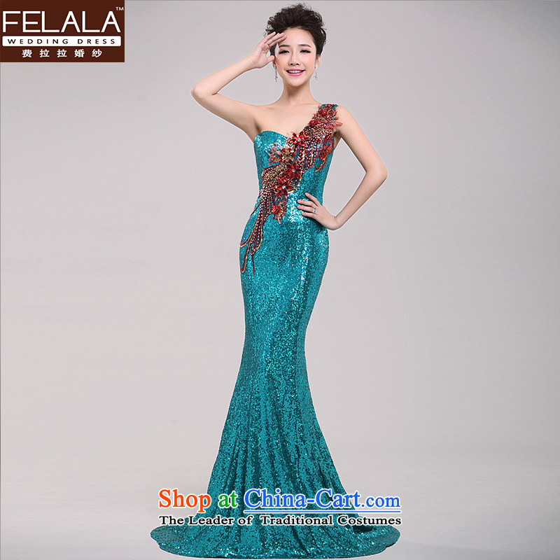 Ferrara?2015 new long single shoulder tail evening wedding companies annual meeting of persons chairing the dress bridesmaid to serve ice blue?S?Suzhou Shipment