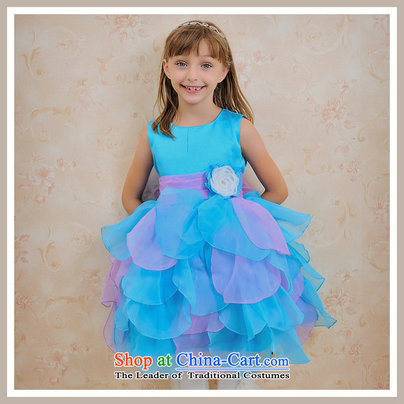 There is also optimized 8D flower girl children's wear skirts princess wedding dress girls show show suits skirts children skirt bon bon skirt evening dress skirt?XS1055?Sea Blue?10