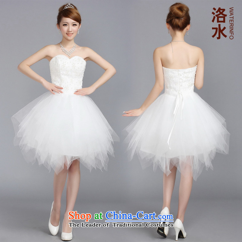 The water women 2014 princess small Dress Short, bon bon skirt wedding bridal dresses bridesmaid bows small white?L