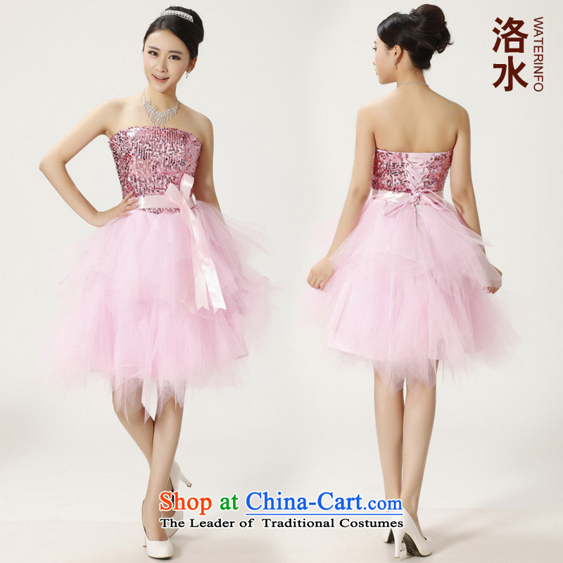 The water women 2014 bride bridesmaid short of marriage dress bows off-chip lace bon bon skirt small pink dresses?M