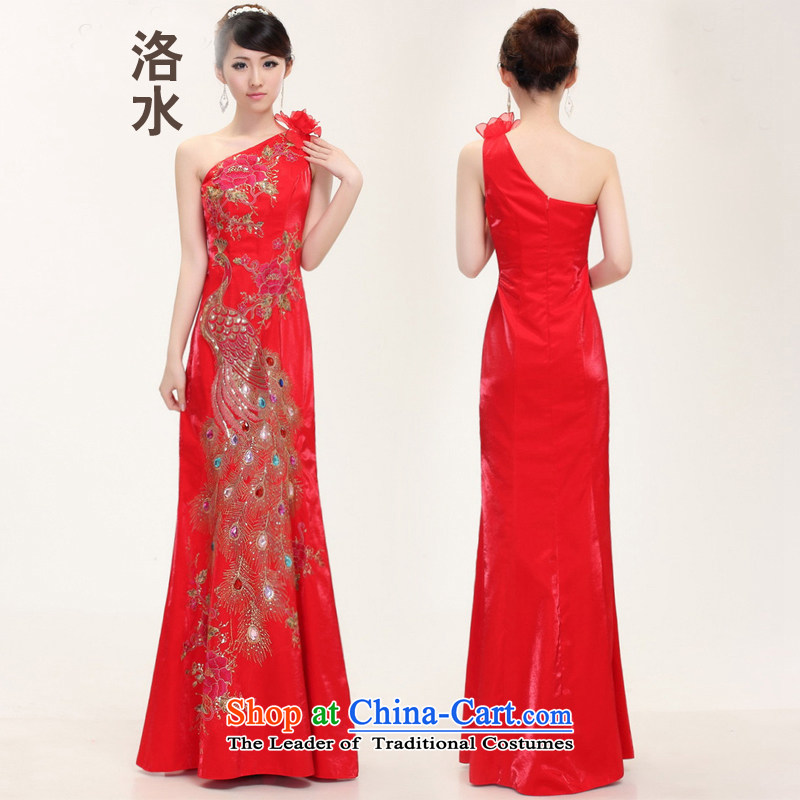 The water women 2014 bride wedding dresses and stylish Chinese qipao shoulder improved crowsfoot marriage bows flag red S