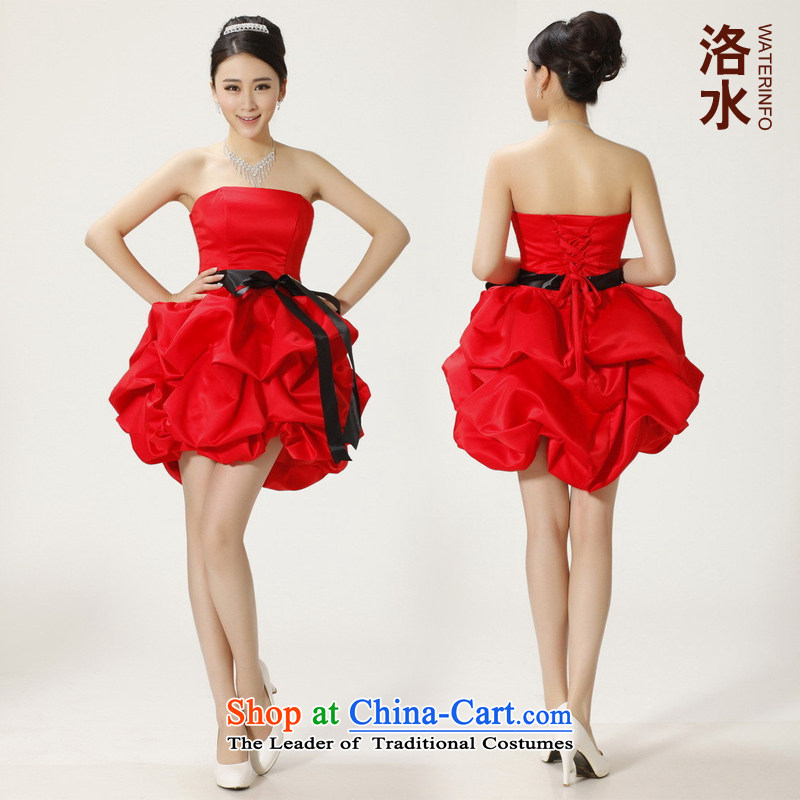 The water women 2014 bride bridesmaid bows short of evening dresses wedding Dinner Performances bon bon small red dress?S