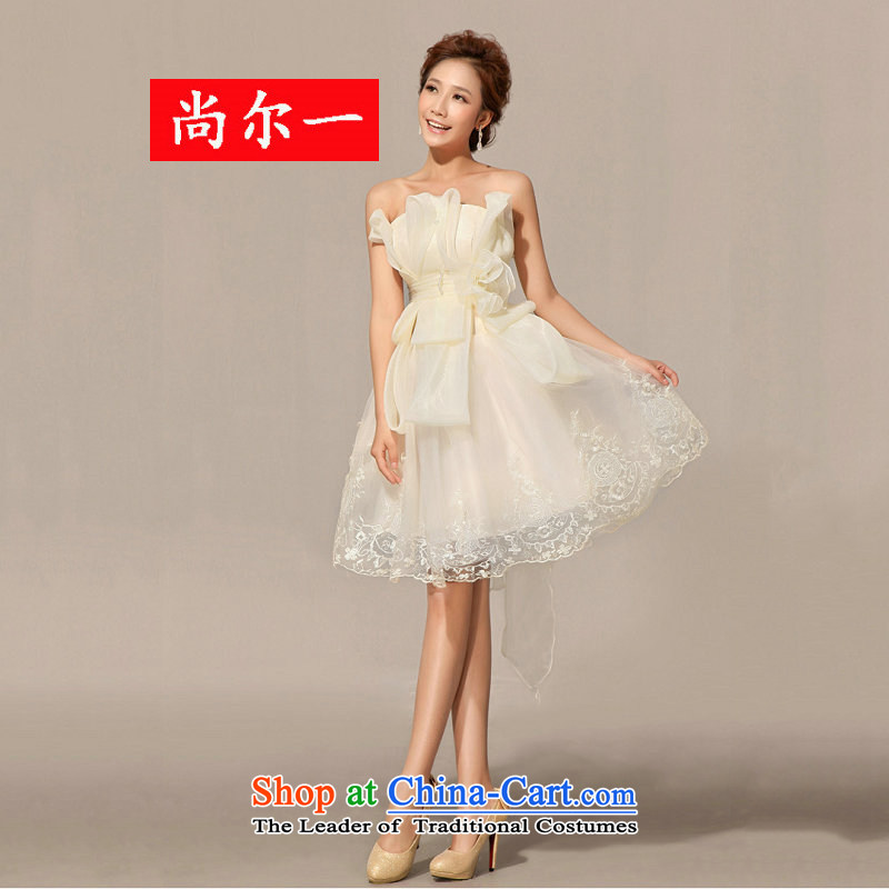 A Korean-style yet erase chest new short_ bridesmaid wedding dresses XS1009 white?S