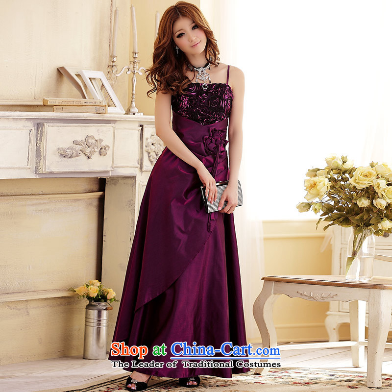 Focus blossoms elegant banquet Jk2.yy long version of the dress dresses aubergine�XXL