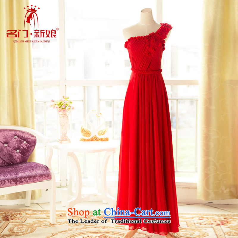 A Bride dress marriage�new bows Services 2015 Pearl Flower nail dress evening dresses�299�red�S