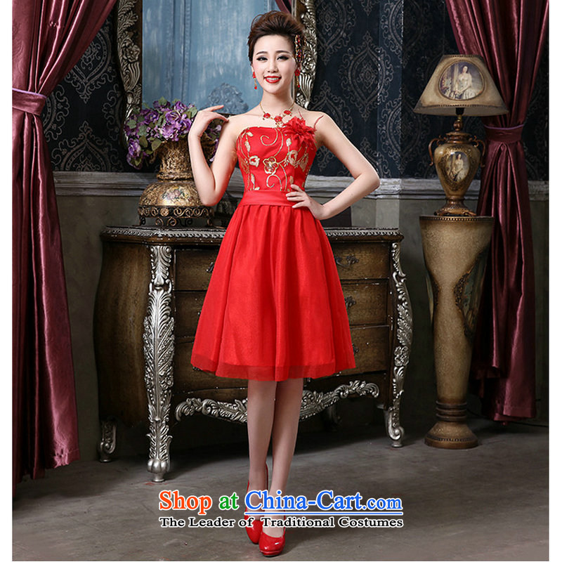 Yet a qipao red retro bride wedding dress QQC1006 RED?M