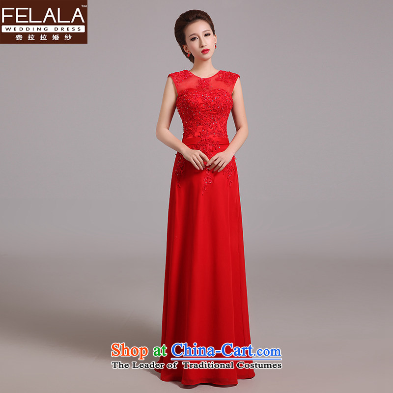Ferrara?2015 new red lace a shoulder long bride toasting champagne dress uniform Korean style of Sau San Choon RED?M?Suzhou Shipment