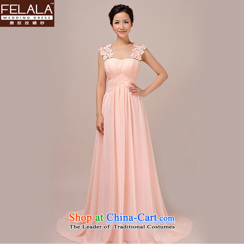 Ferrara new bride wedding dress uniform elegant flowers of the bows shoulders back long of Sau San bridesmaid services Pink?M?Suzhou Shipment