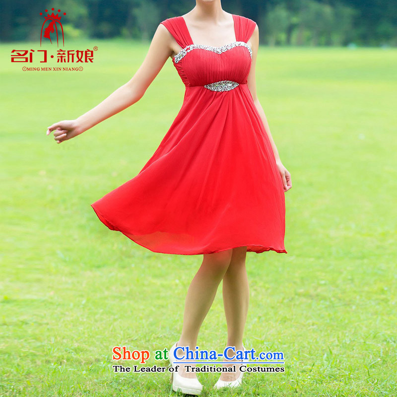 A bride wedding dresses red dress bows services pregnant women married to dress up waist dress 329 L