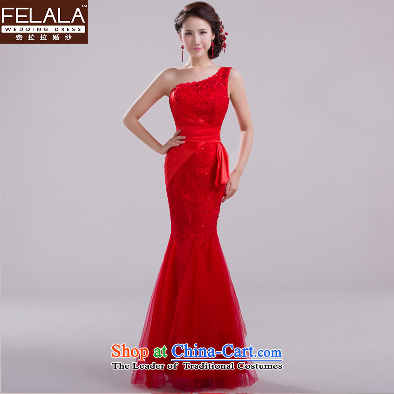 Ferrara upscale 2015 new red bride crowsfoot long bows dress female lace evening dress summer red?L
