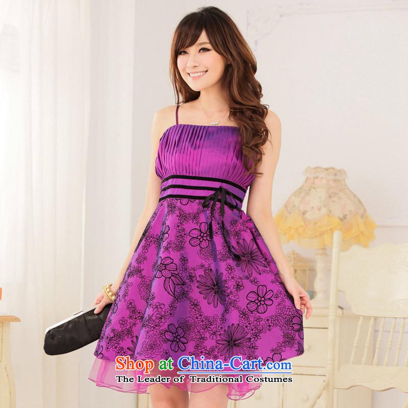 2014�Good retro workmanship Jk2.yy value lint-free waist straps to spend thin dress dresses purple�XXL