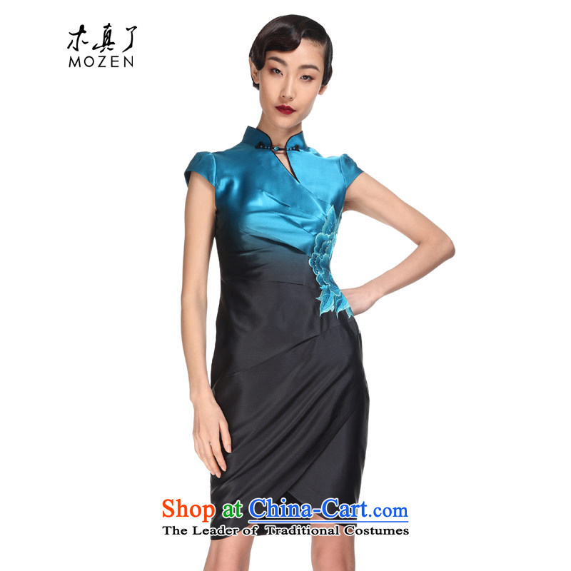The 2015 summer wood really new Chinese Antique embroidery cheongsam dress dress nights gradient. pack?light blue?XXXL 21943 email 11