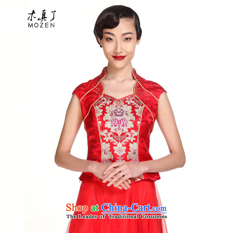 The MOZEN2015 really wooden bride replacing marriage toasting champagne Chinese Dress Shirt female Tang Dynasty Package Mail 21913 04 red M