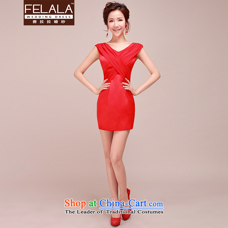 Ferrara?2015 new stylish wedding dresses bride red Deep v bridesmaid short dinners small dress skirt red?XL?Suzhou Shipment