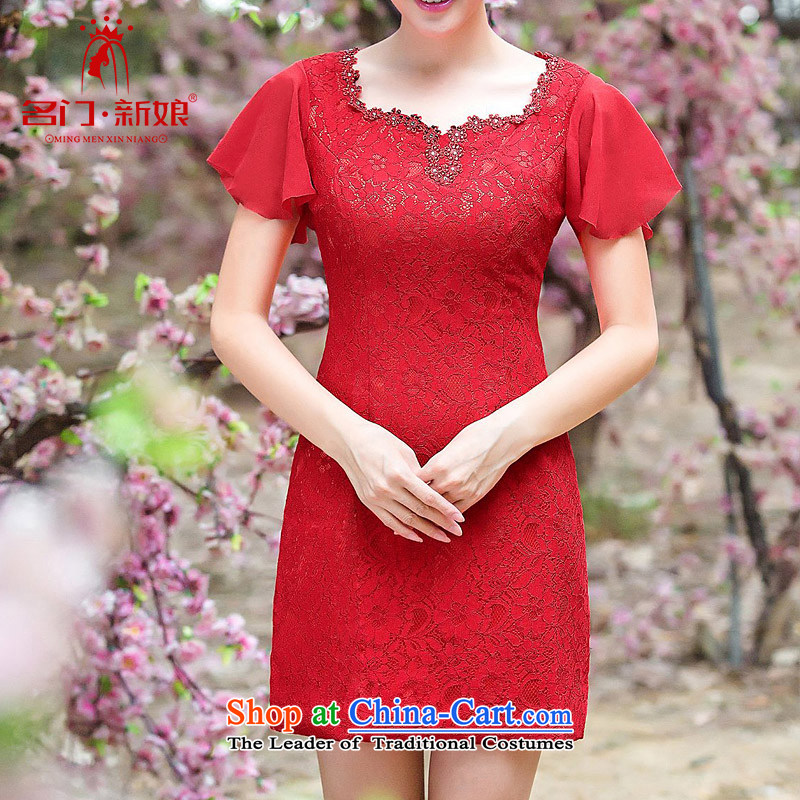 A bride wedding dresses manually lace red flower Sau San bows Dress Short of dress 345 M