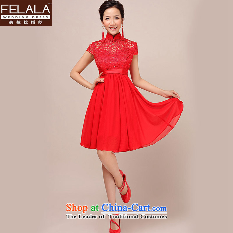 Ferrara dress 2015 new red short, lace retro bride Top Loin of large graphics thin pregnant women dress red�S