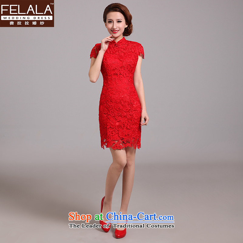 Ferrara?2015 new red lace back cheongsam red marriages improved qipao bows services spring RED?M