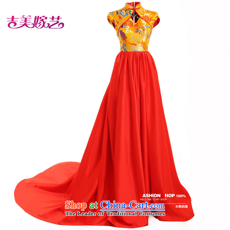 Wedding dress Kyrgyz-american married arts New Package 2015 shoulder Chinese Dress tail LT616 bridal dresses Gold Red?S