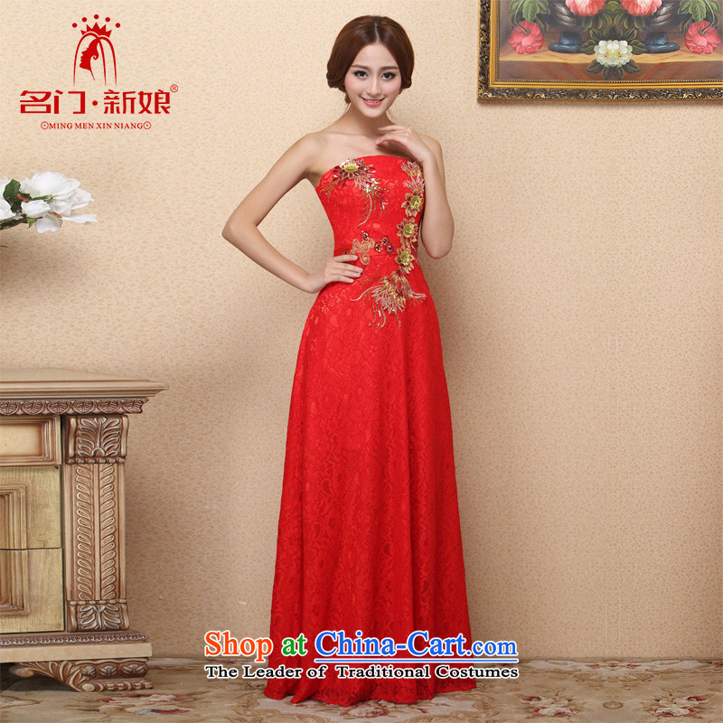 A new 2015 anointed bride chest lace dress red bows dress handicraft embroidery 113 M