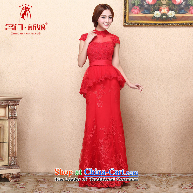 A?new dresses bride 2015 retro red lace dress bows dress red crowsfoot 350 L