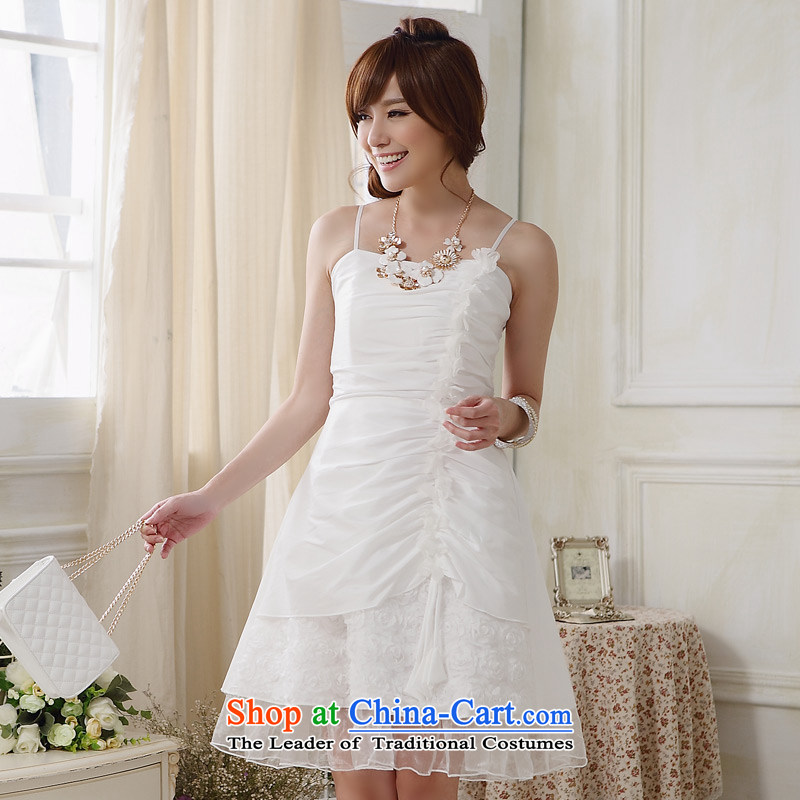 The end of the light (MO) Western Style QIAN strap car flower Foutune of dress and the small dining dress dresses White�XXL