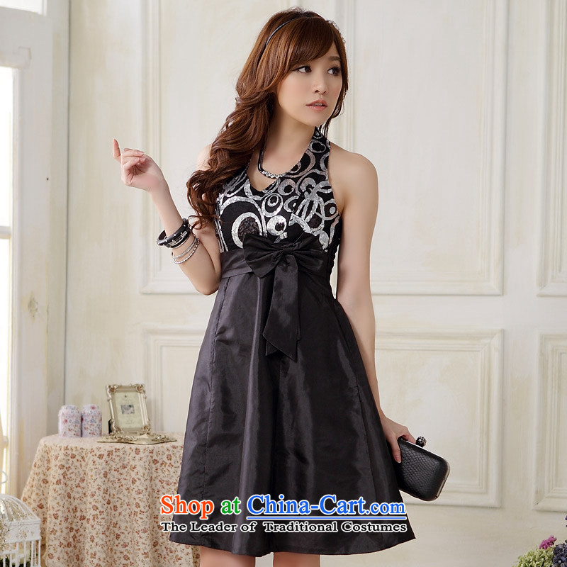 The end of the light (MO) Western Dinner QIAN foreign trade a strap evening dresses and sexy V-Neck, Chest Package Foutune of small dress dresses�XXXL black