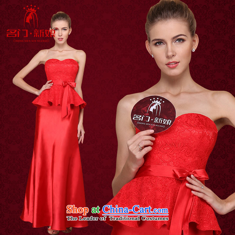 A�new bride 2015 Red bows dress wedding dress Top Loin video thin lace dress 676 L