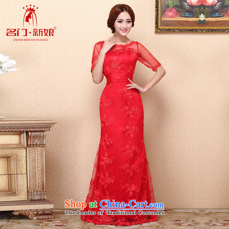 A?new bride 2015 lace red dress bows dress Top Loin video thin bow tie?685 L