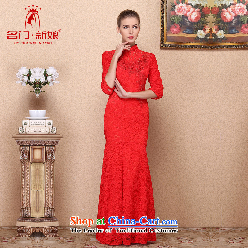 A new bride 2015 Red bows dress lace long gown retro-clip 687 S