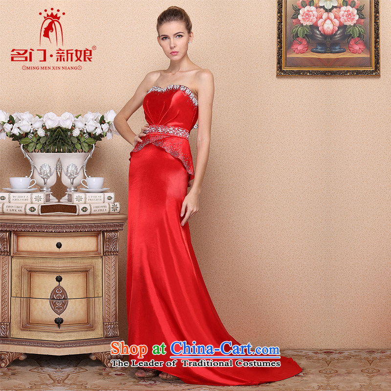 A?new bride 2015 Red elegant dress marriage bows dress small trailing Red Dress 701 M