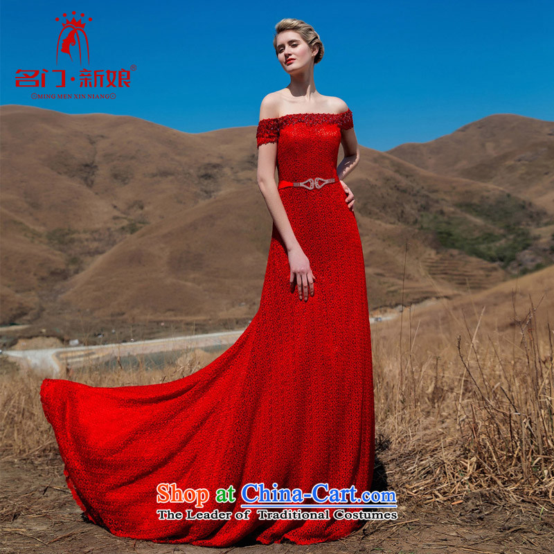 A聽new bride 2015 Red Tail dress red lace tail elegant dress 576 L