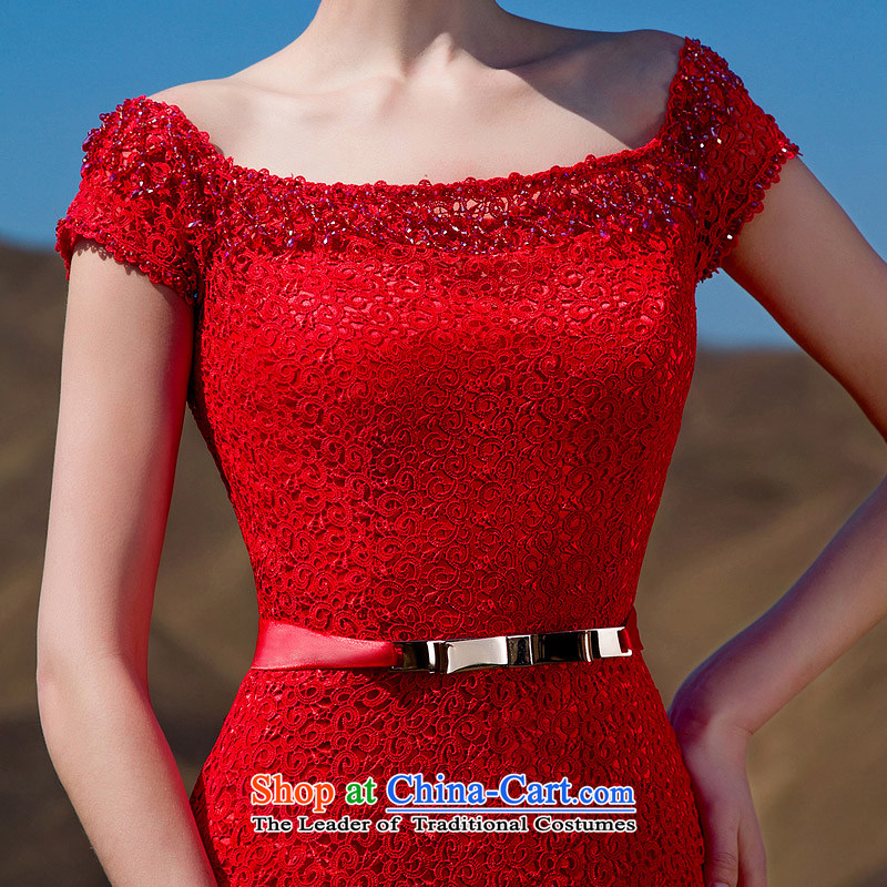 A聽new bride 2015 Red Tail dress red lace tail elegant dress 576 L, a bride shopping on the Internet has been pressed.